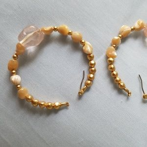 Jewelry - Glass and gold beaded Statement Earrings